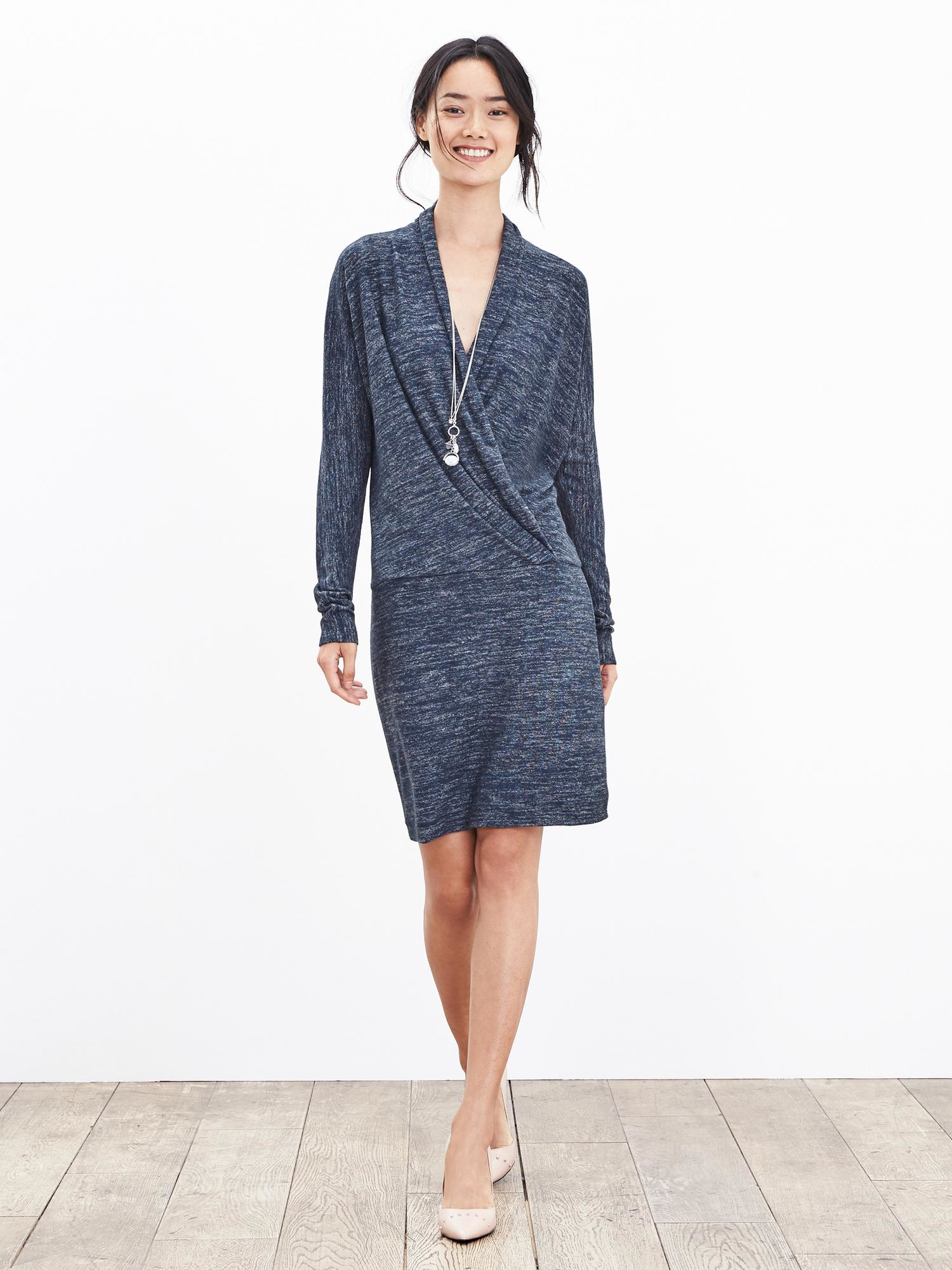 Banana Republic Faux Wrap Knit Dress In Blue Navy Lyst