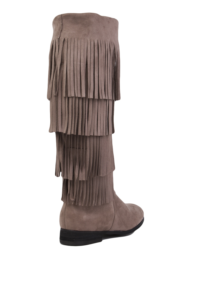 Akira black label 4 Layer Fringe Boots - Taupe in Brown | Lyst