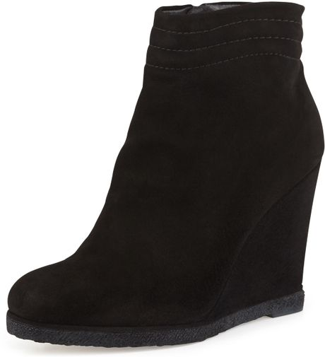 stuart weitzman meridian wedge ankle boot in black lyst