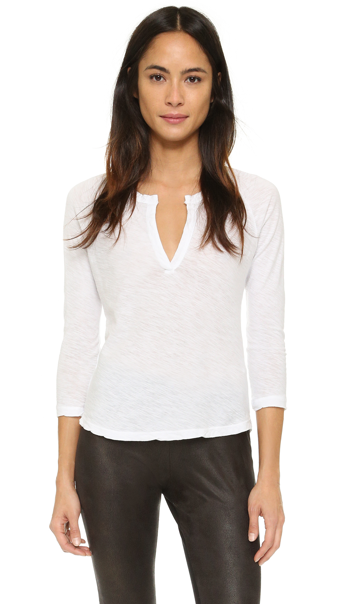 James perse slub open henley tee in white lyst for James perse henley shirt