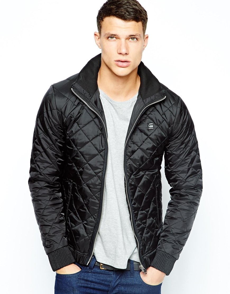 g star raw g star quilted jacket correct nylon in black for men lyst. Black Bedroom Furniture Sets. Home Design Ideas