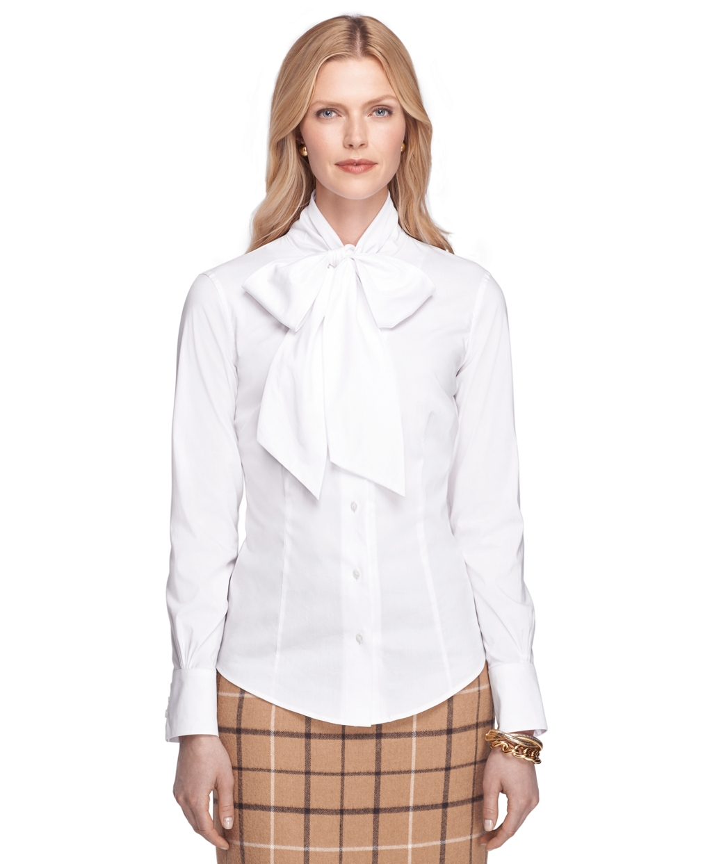 Brooks Brothers Tailored Fit Cotton Stretch Shirt In White