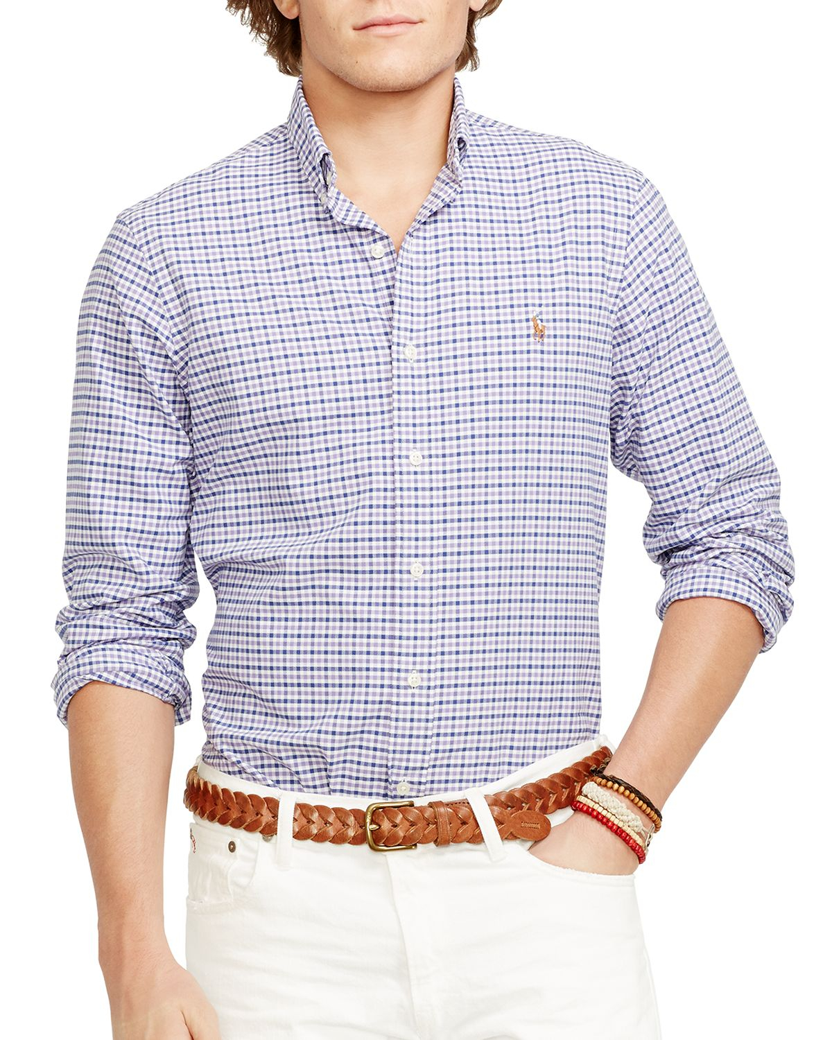 Ralph lauren purple polo checked oxford button down for Athletic fit button down shirts