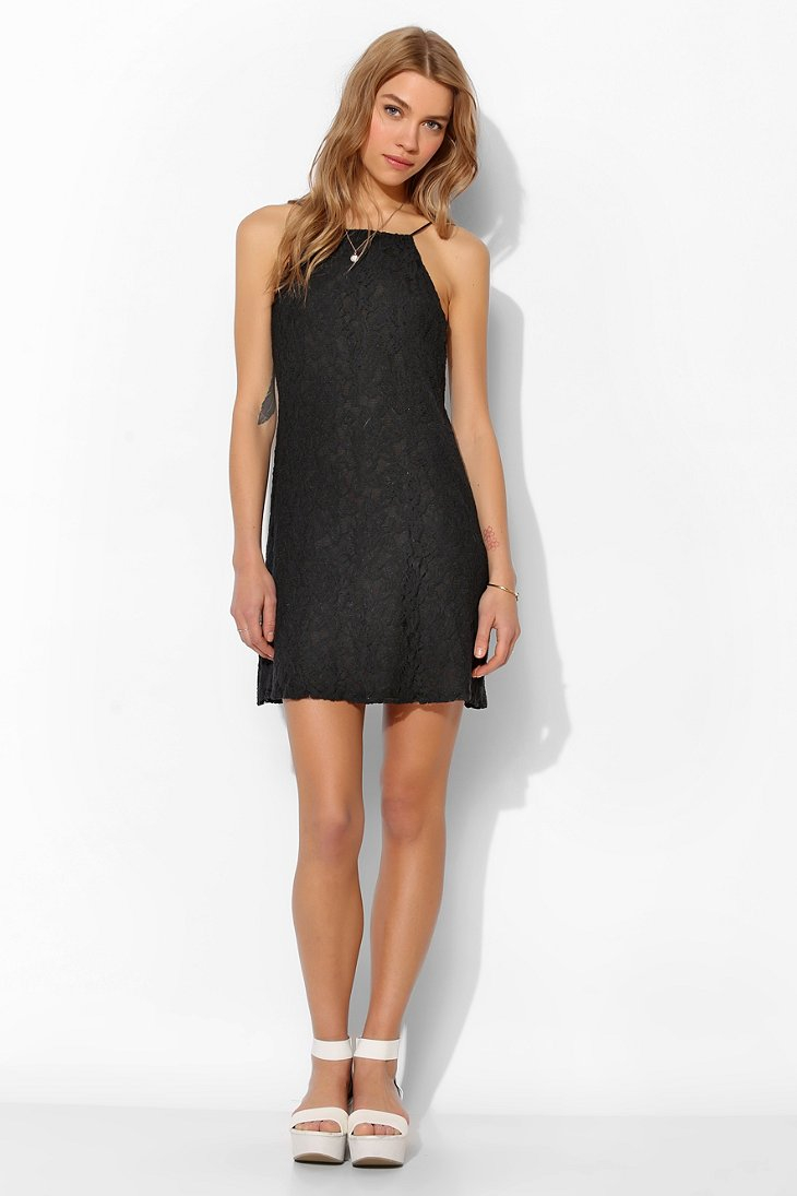 4250a36c1a8d8 Pins And Needles Lace Sidecutout Slip Dress in Black - Lyst