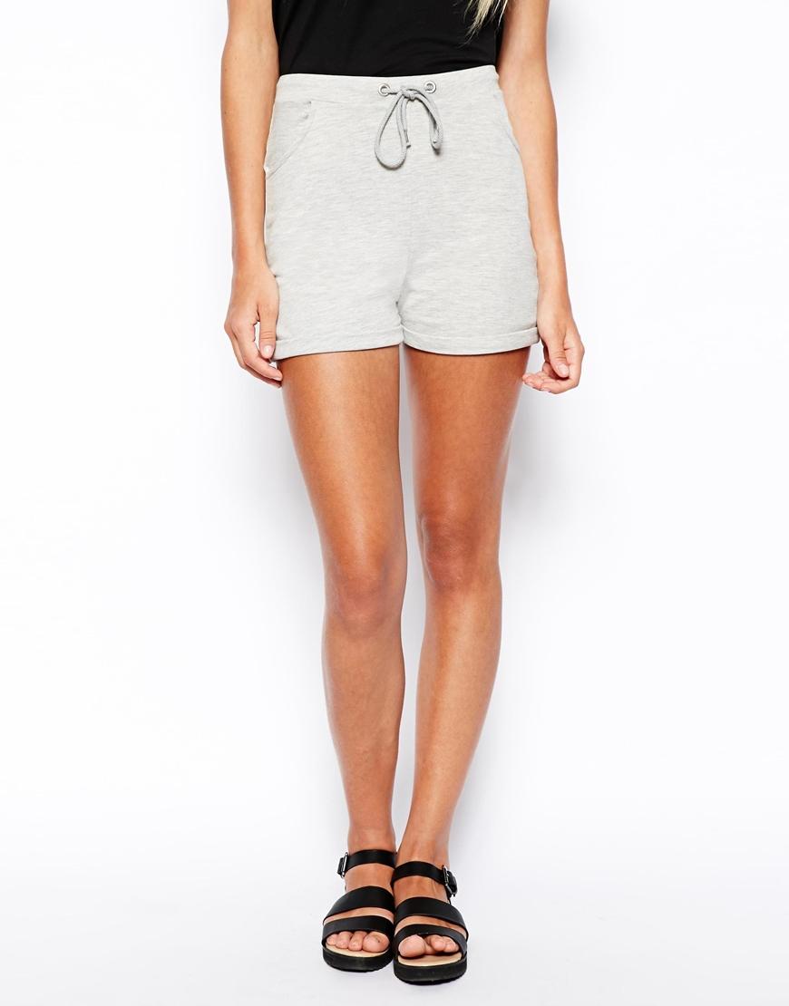 High Waisted Fabric Shorts