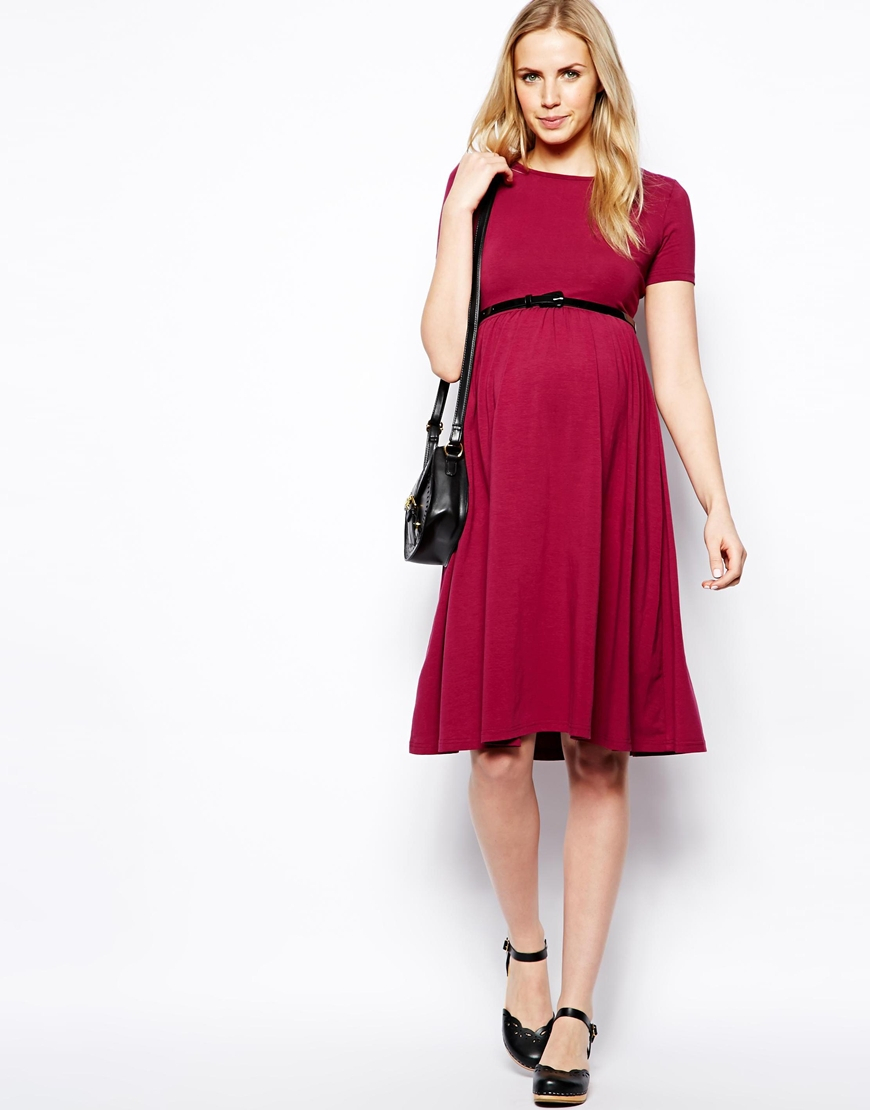 Lyst asos midi skater dress with belt in blue gallery ombrellifo Images