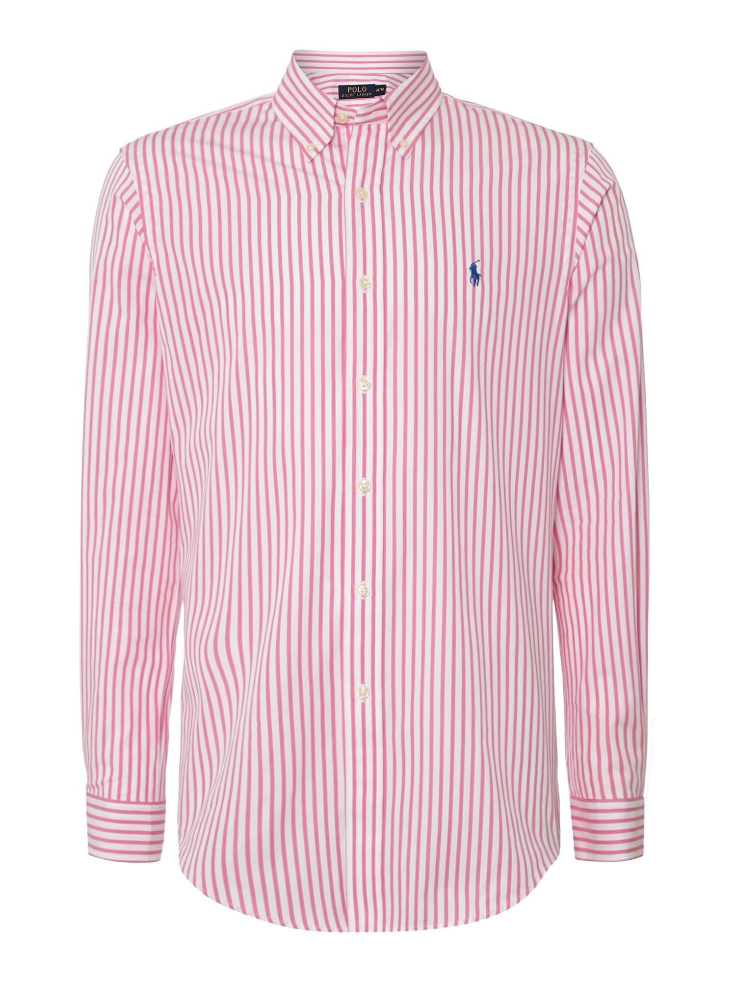 Polo ralph lauren bengal stripe custom fit shirt in pink for Pink and white ralph lauren shirt