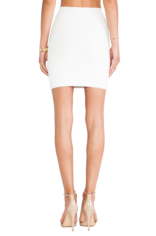 Bcbgmaxazria Mini Body Con Skirt in White | Lyst