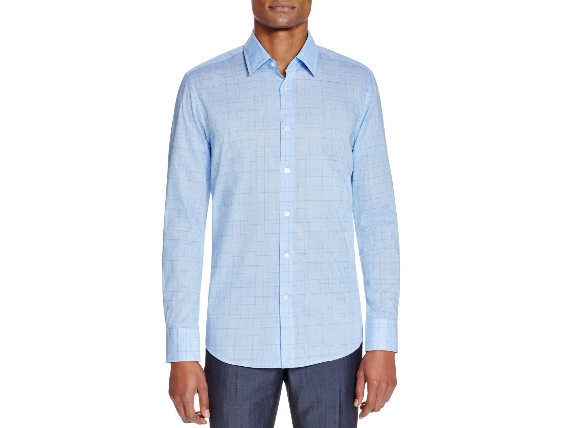 462540fd Boss Boss Lukas Windowpane Regular Fit Button Down Shirt in Blue for ...
