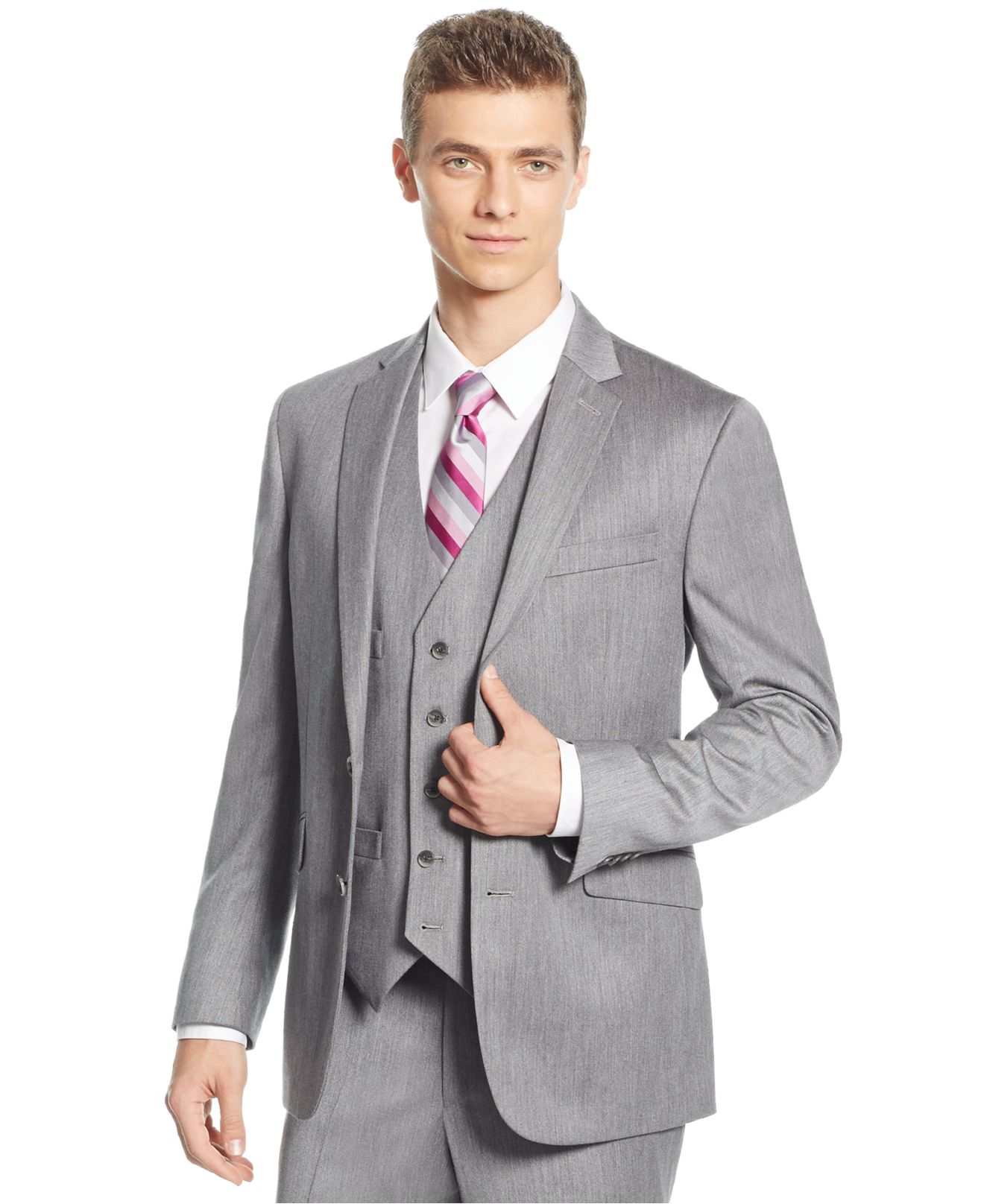 Lyst - Kenneth Cole Reaction Light Grey Sharkskin Slim-fit Vested ... a55e5cc62