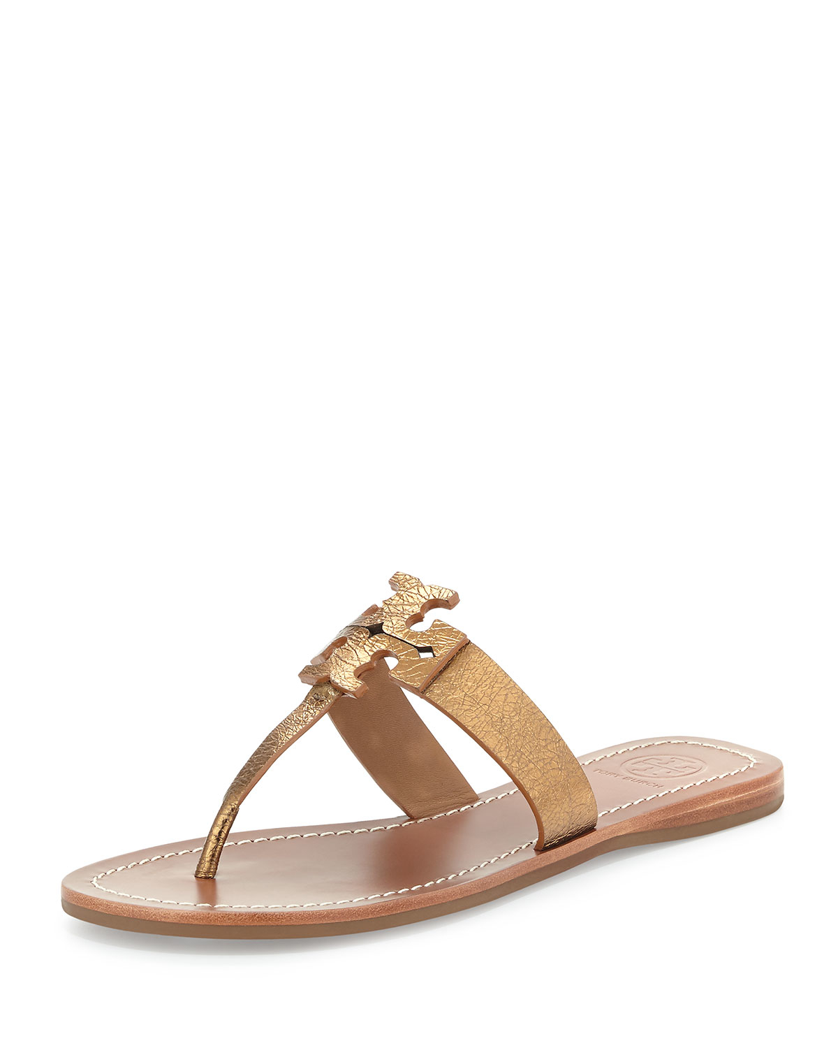 c858a7bdb79 Tory Burch Moore Metallic Leather Sandal in Brown - Lyst