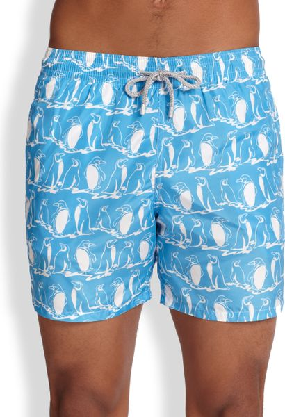 Vilebrequin Mahina Penguin Swim Trunks in Blue for Men ...