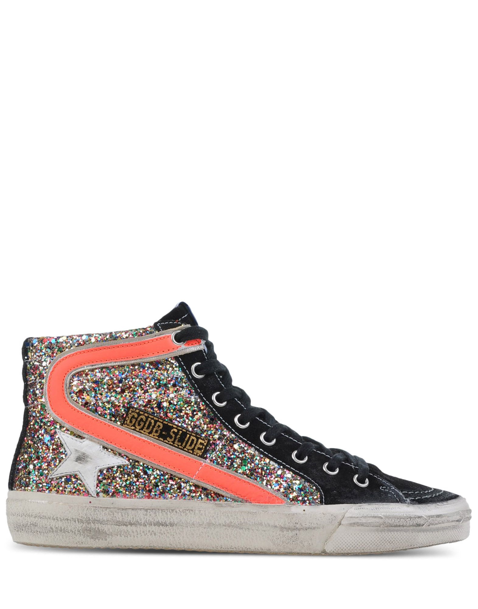 golden goose deluxe brand slide glitter high top sneakers in black lyst. Black Bedroom Furniture Sets. Home Design Ideas