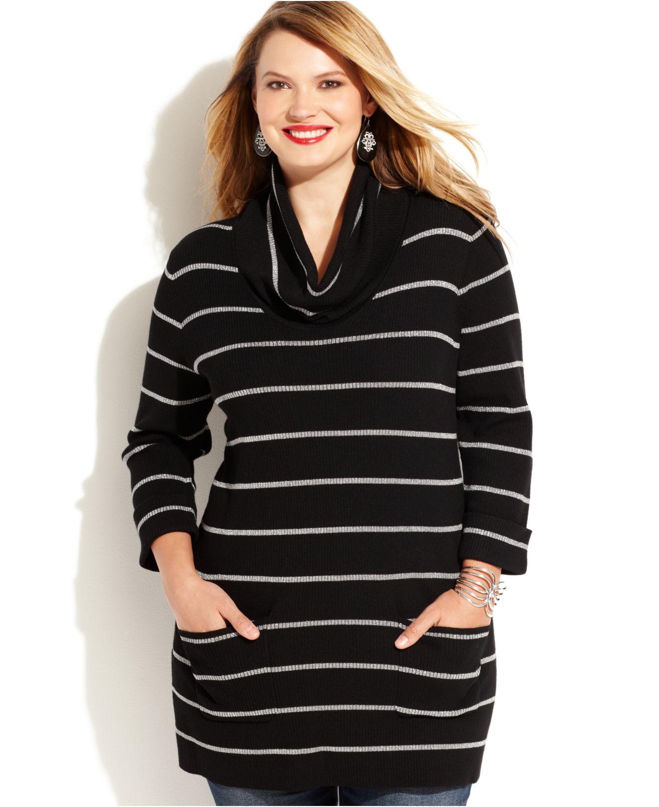 Inc international concepts Plus Size Striped Cowl-Neck Tunic ...
