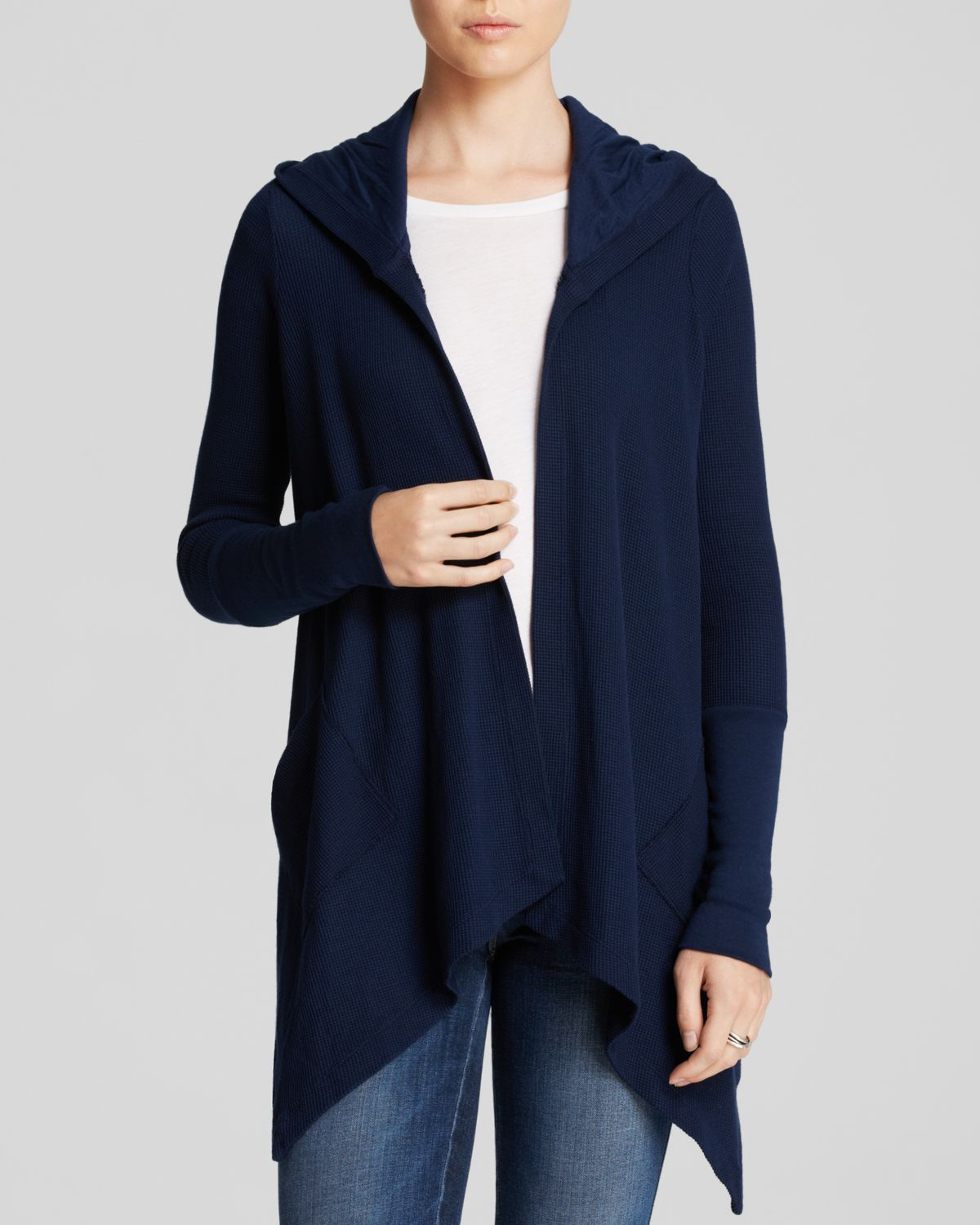 Splendid Cardigan - Thermal Hooded in Blue | Lyst