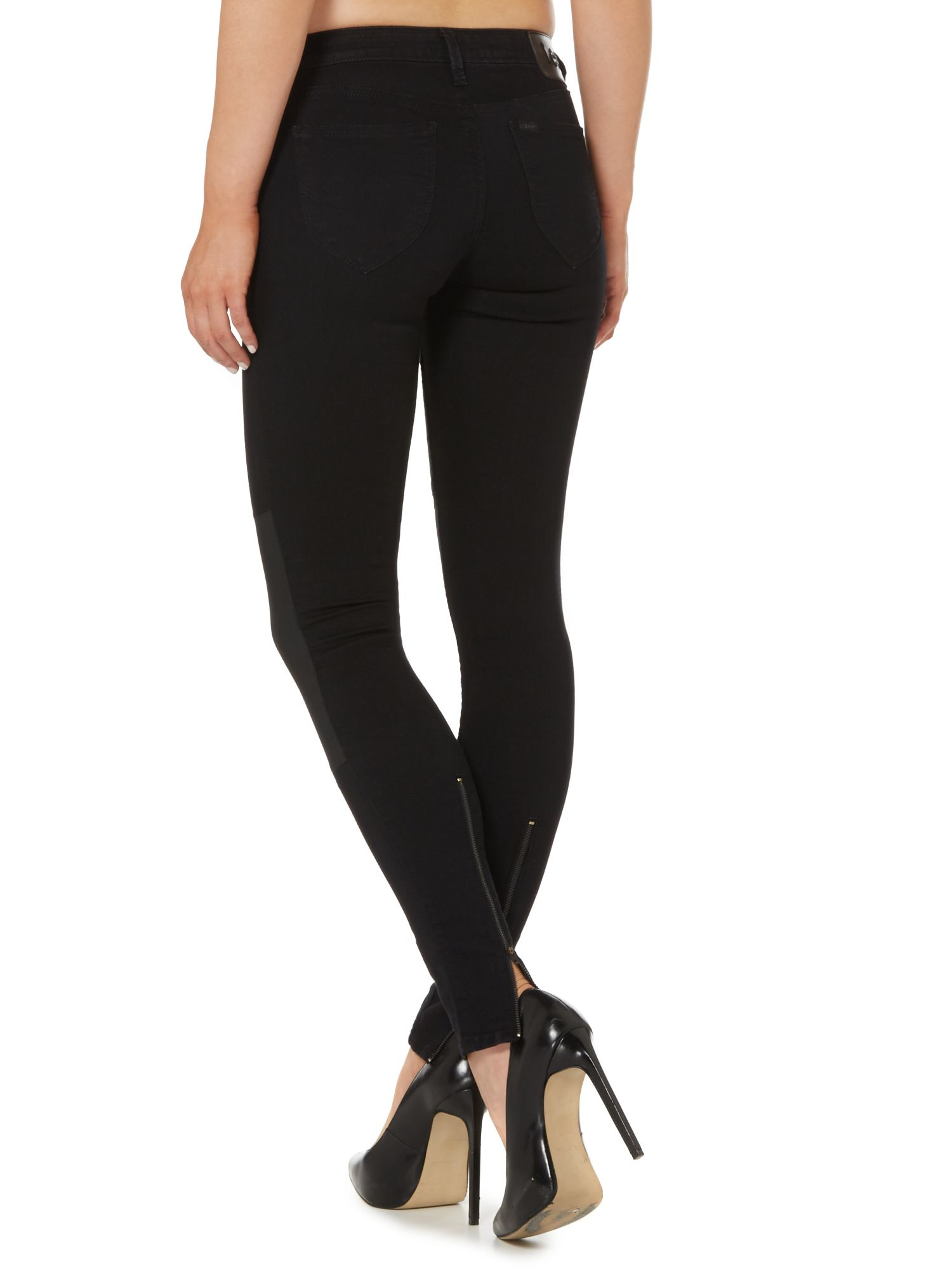 Lee jeans Toxey Super Skinny Coated Knee Jean With Zips in Black