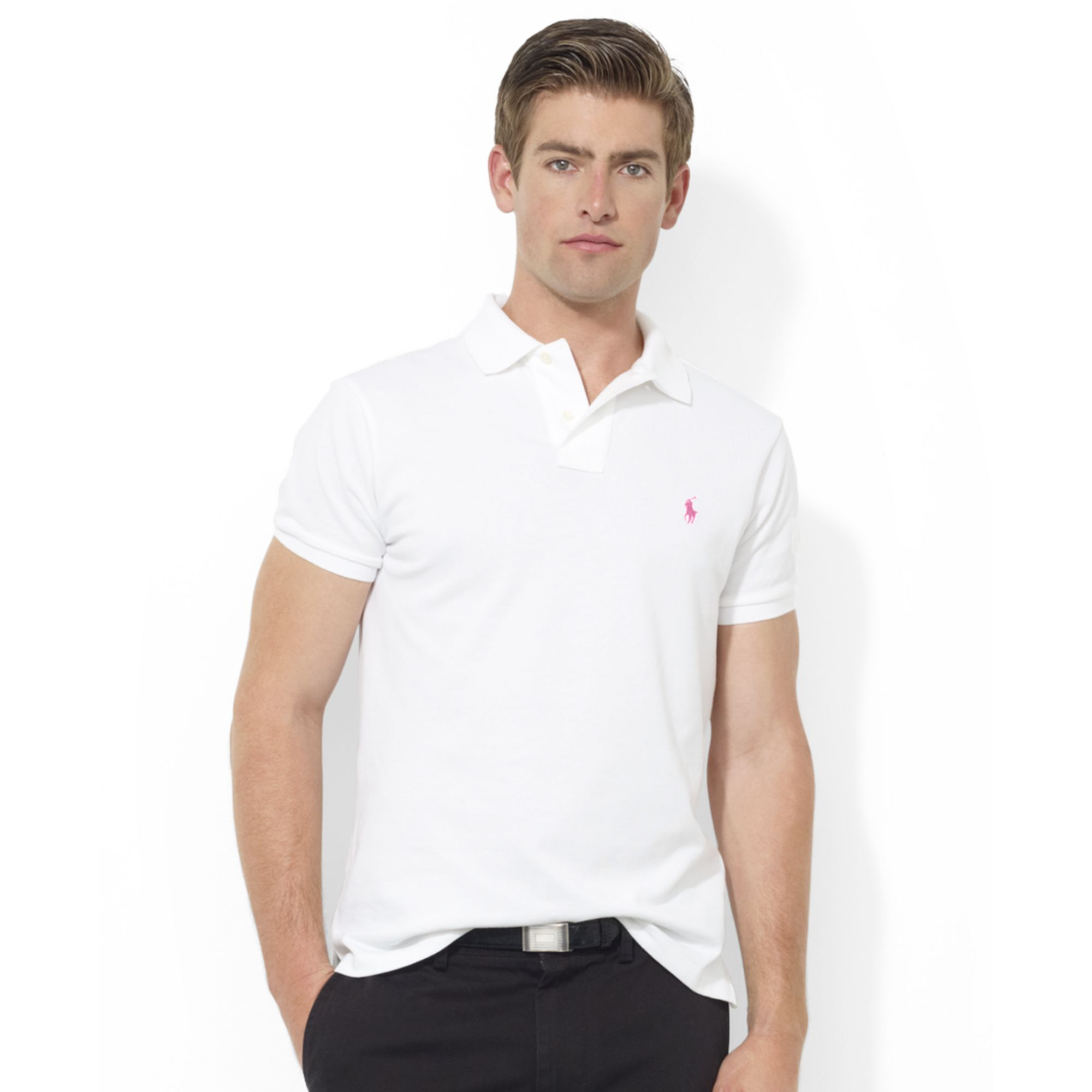 32741bc14c69 Lyst - Ralph Lauren Pink Pony Customfit Shortsleeve Mesh Polo in ...