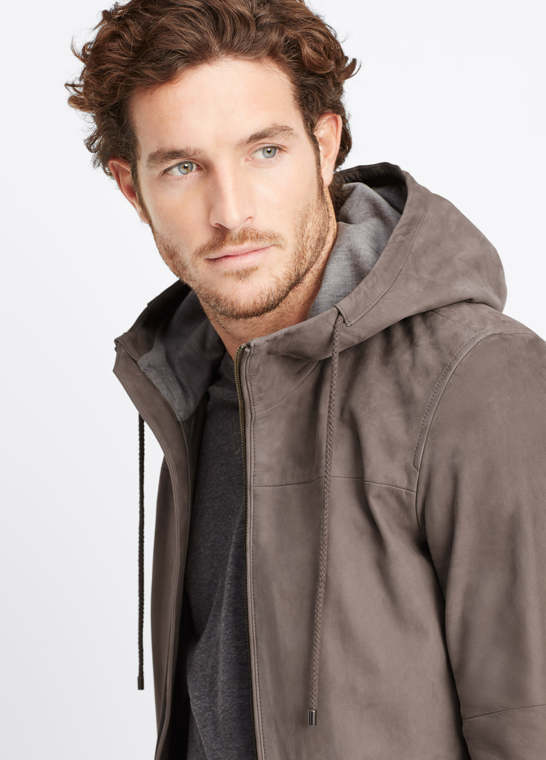 Lyst Vince Hooded Leather Jacket In Brown For Men