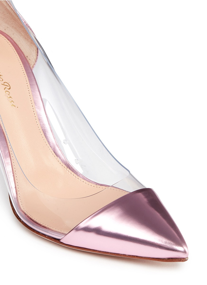 Gianvito Rossi Clear Pvc Metallic Leather Pumps In Pink Lyst