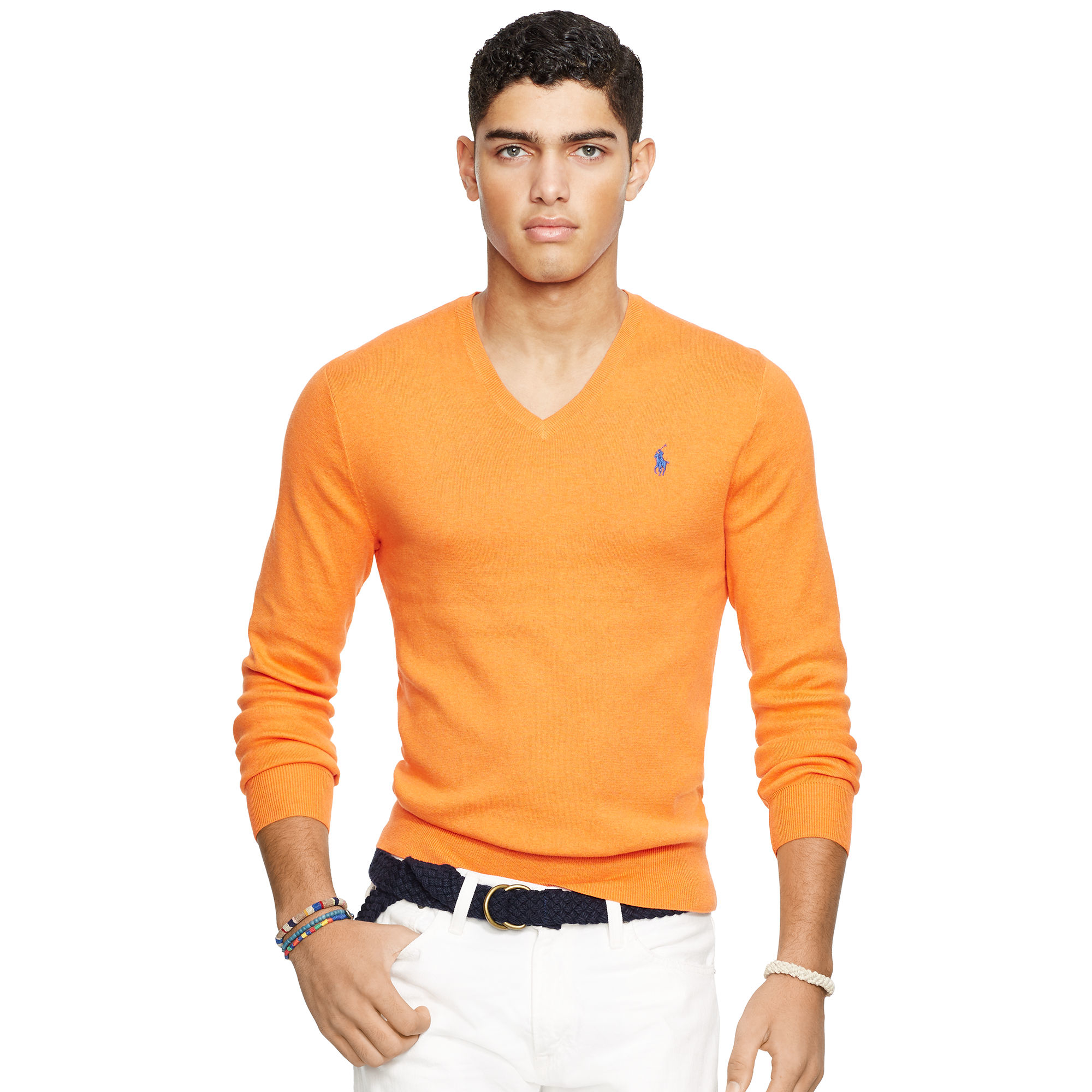 89a0d493dbcca Polo Ralph Lauren Slim-fit Pima Cotton Sweater in Orange for Men - Lyst