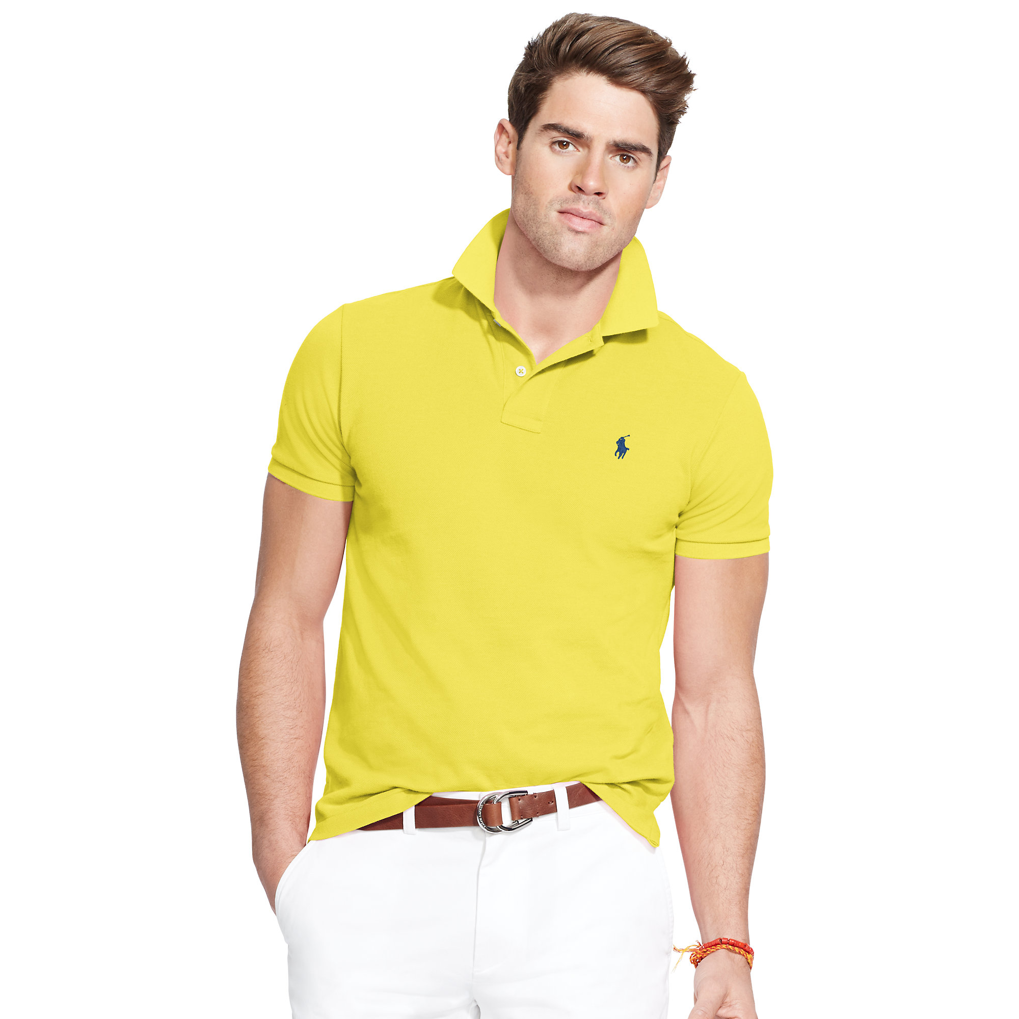 84ed967a17739 Lyst - Polo Ralph Lauren Classic-fit Mesh Polo Shirt in Yellow for Men