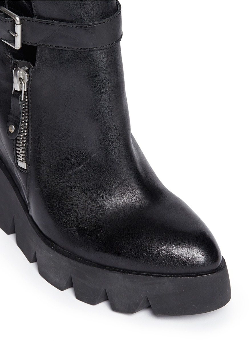 5c2f6746a7c6 Lyst - Ash  ricky  Leather Platform Wedge Boots in Black