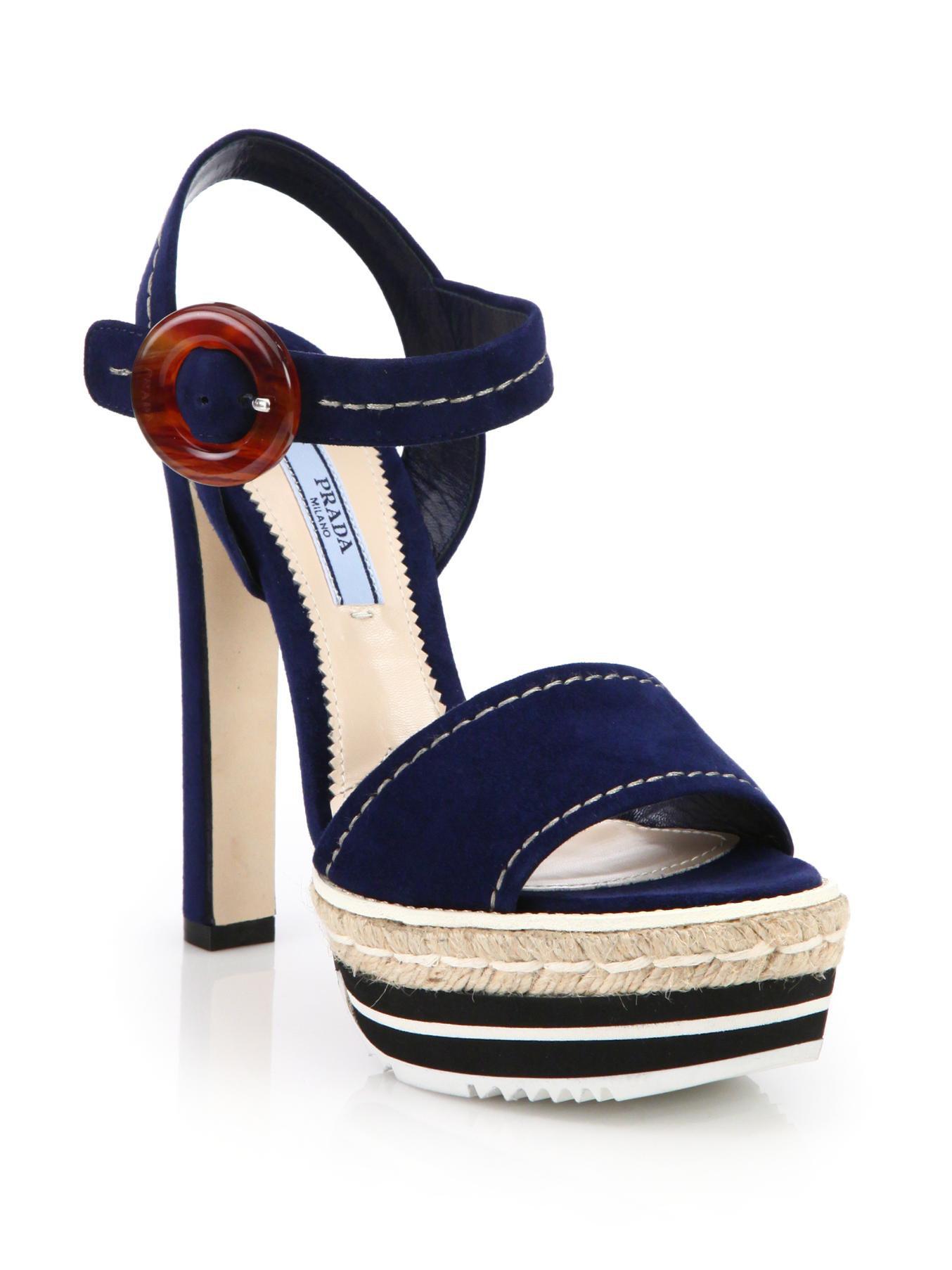6990f44a65cf Prada Strappy Suede Platform Sandals