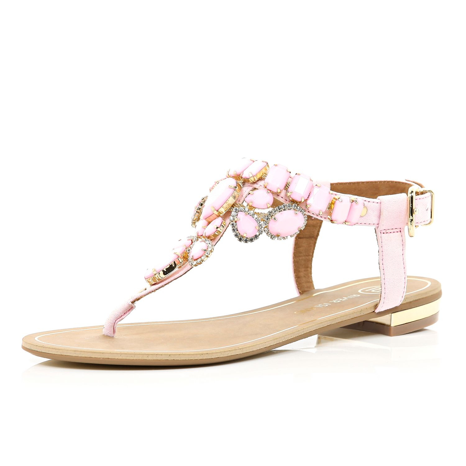 river island pink gem embellished t bar sandals in