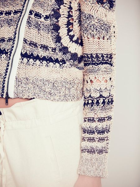 Free People Crochet Moto Jacket In White Midnight Combo
