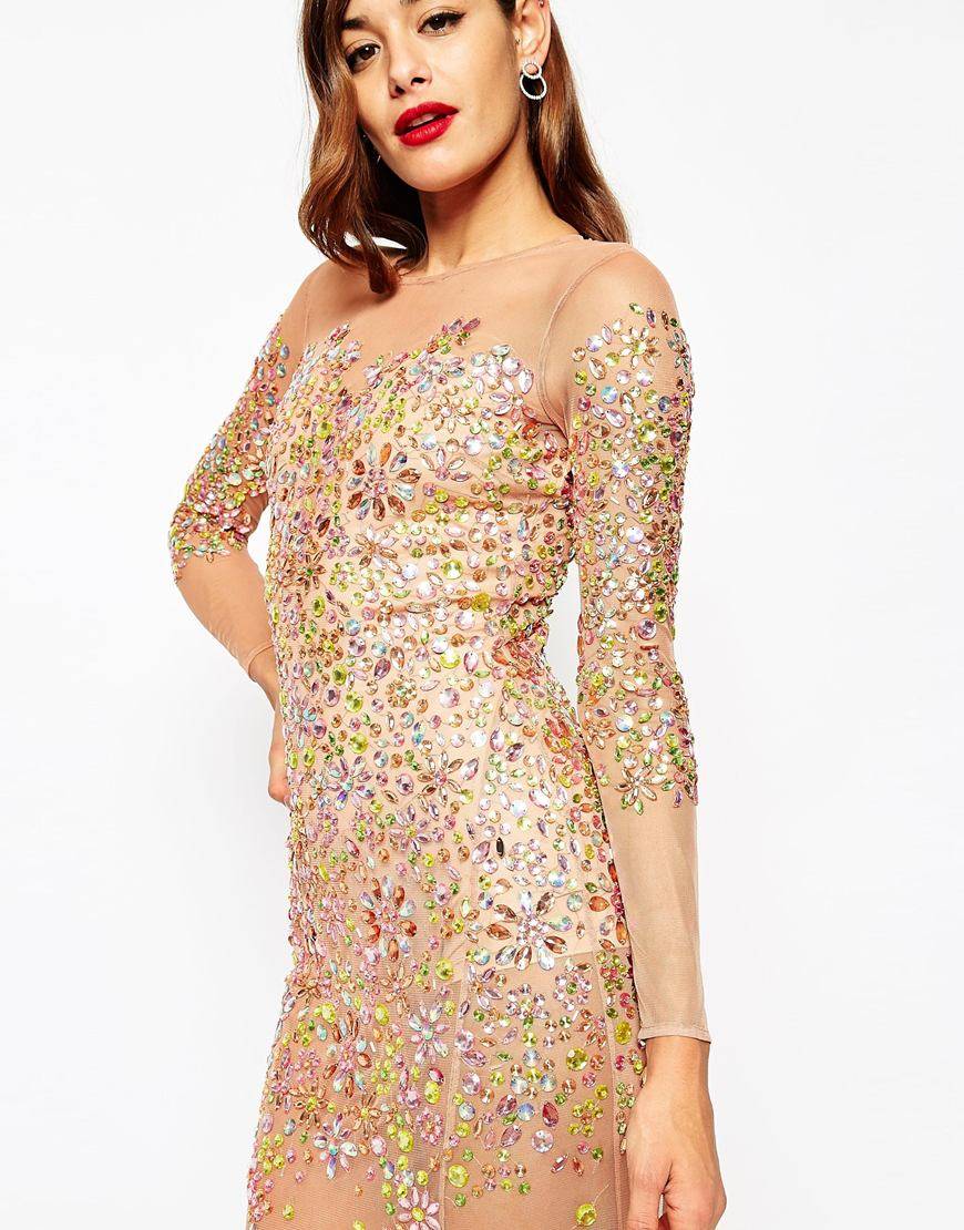 c2cc278deca Asos Baroque Embellished Dress In Multicolor Lyst