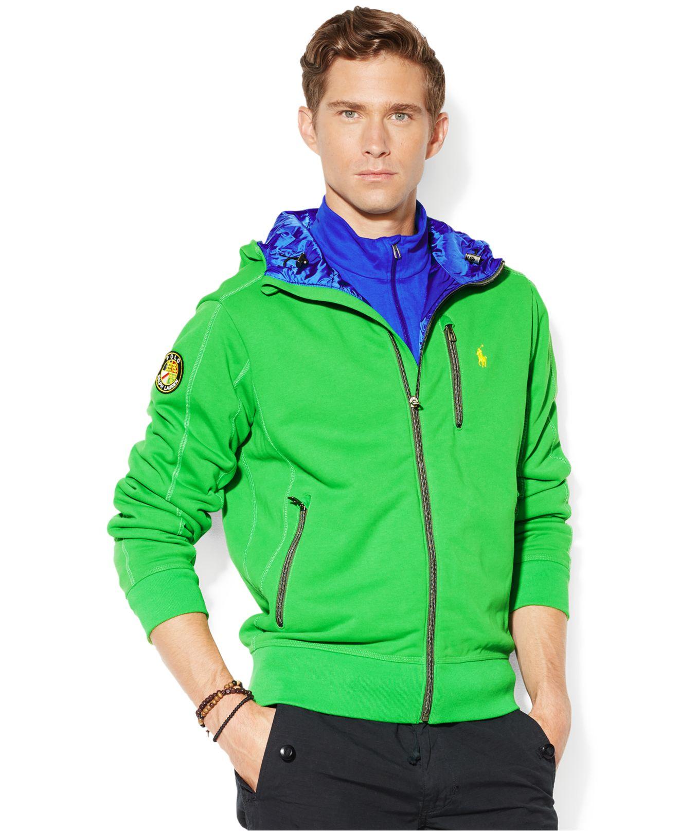 polo ralph lauren fleece contrast hoodie in green for men vivid green. Black Bedroom Furniture Sets. Home Design Ideas