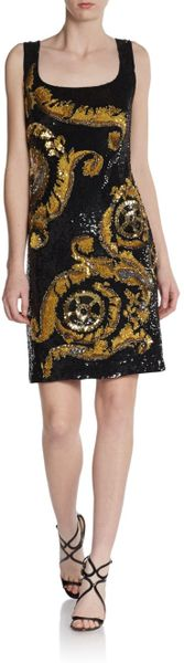 Versace Sequined Scroll Dress In Gold Black Gold Lyst