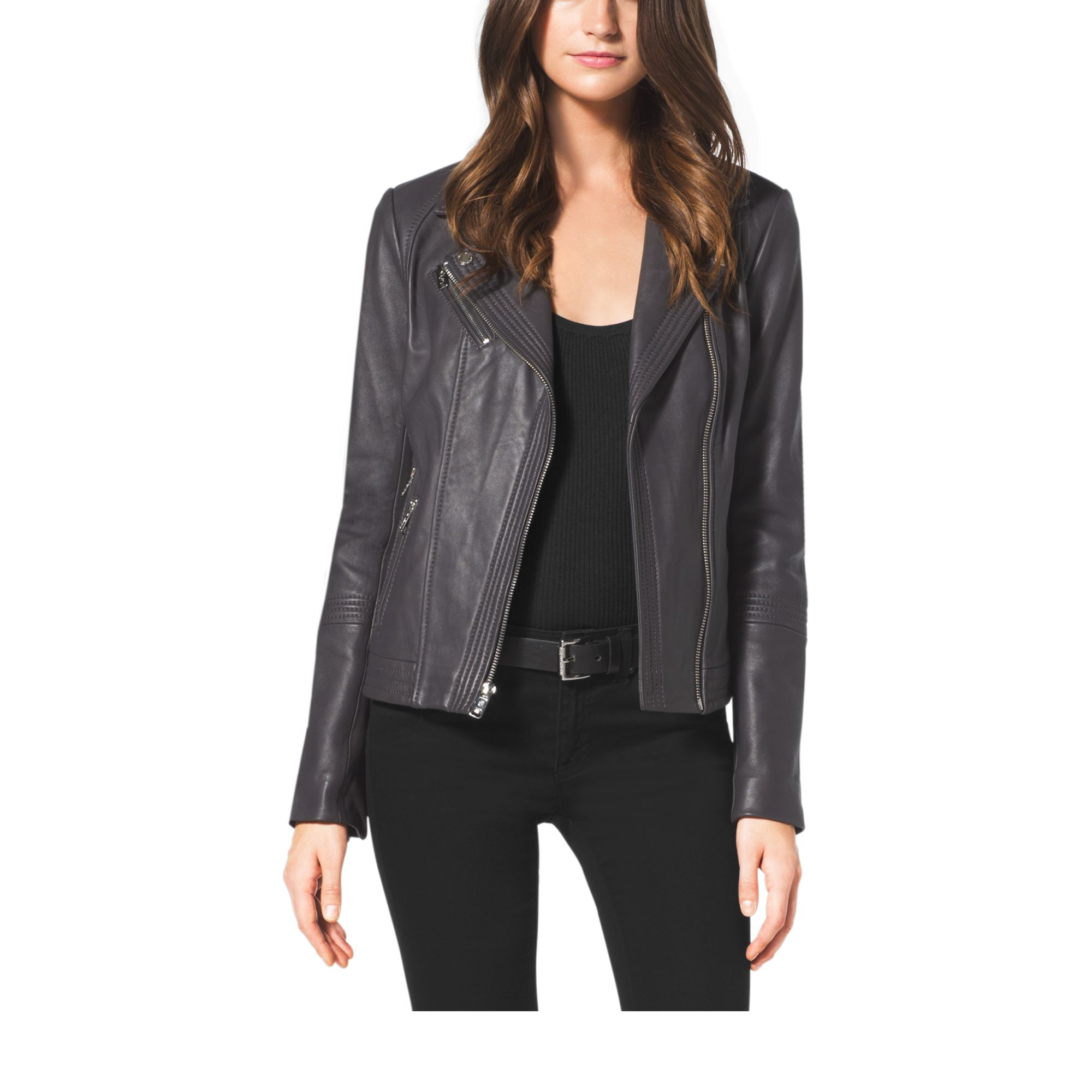 michael kors leather moto jacket in gray lyst. Black Bedroom Furniture Sets. Home Design Ideas