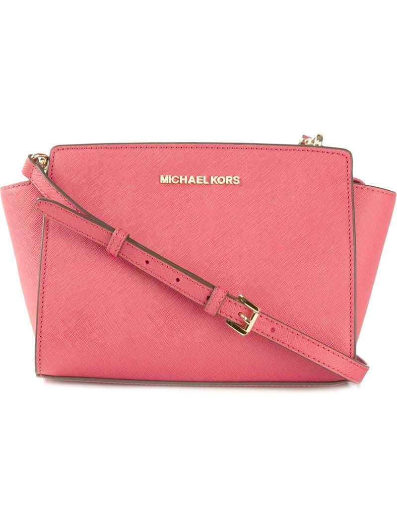 dc3f5e38bfcb MICHAEL Michael Kors Selma Medium Leather Messenger in Pink - Lyst