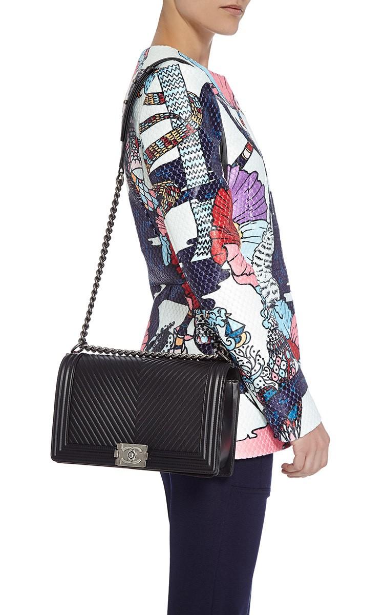 2edb223f9171 Lyst - Madison Avenue Couture Chanel Black Herringbone Chevron Calfskin  Large Boy Bag in Black