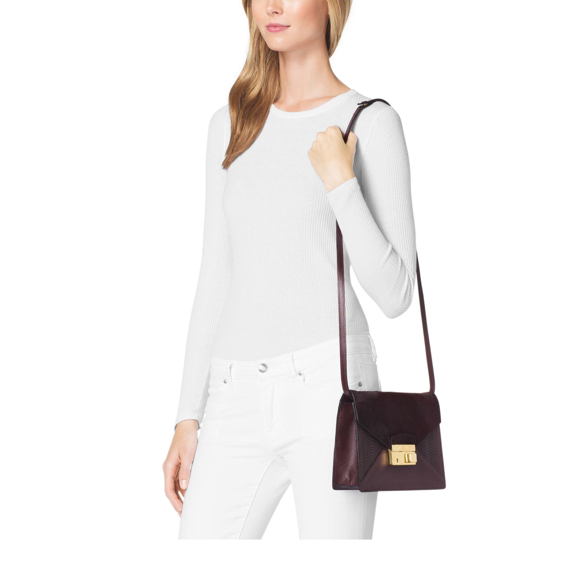 591f4bf6948 Lyst - Michael Kors Gia Medium Calf Hair And Python Shoulder Bag in ...