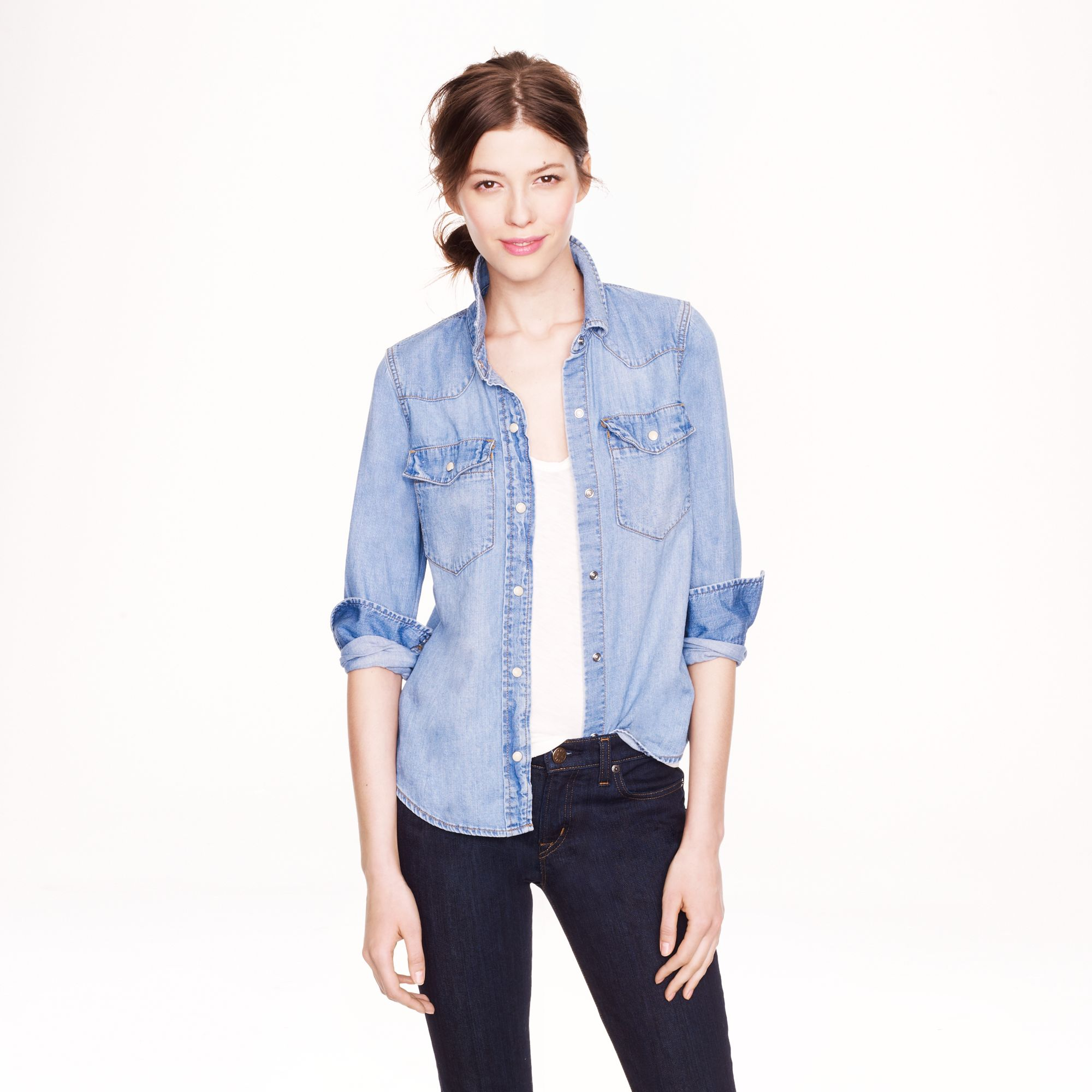 Denim western shirt in pale indigo in blue lyst for Indigo denim shirt womens