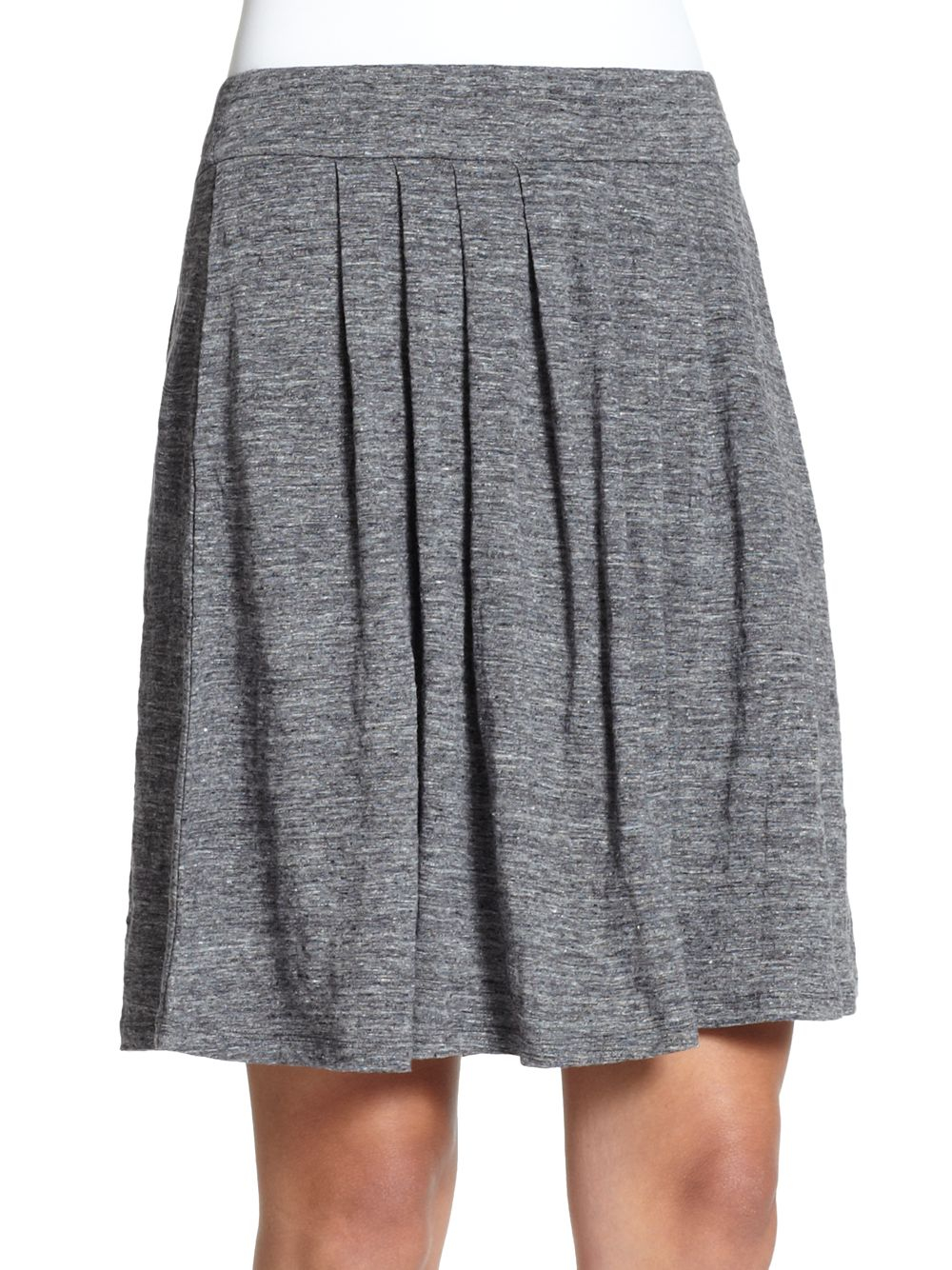 eileen fisher pleated linen knit skirt in gray lyst