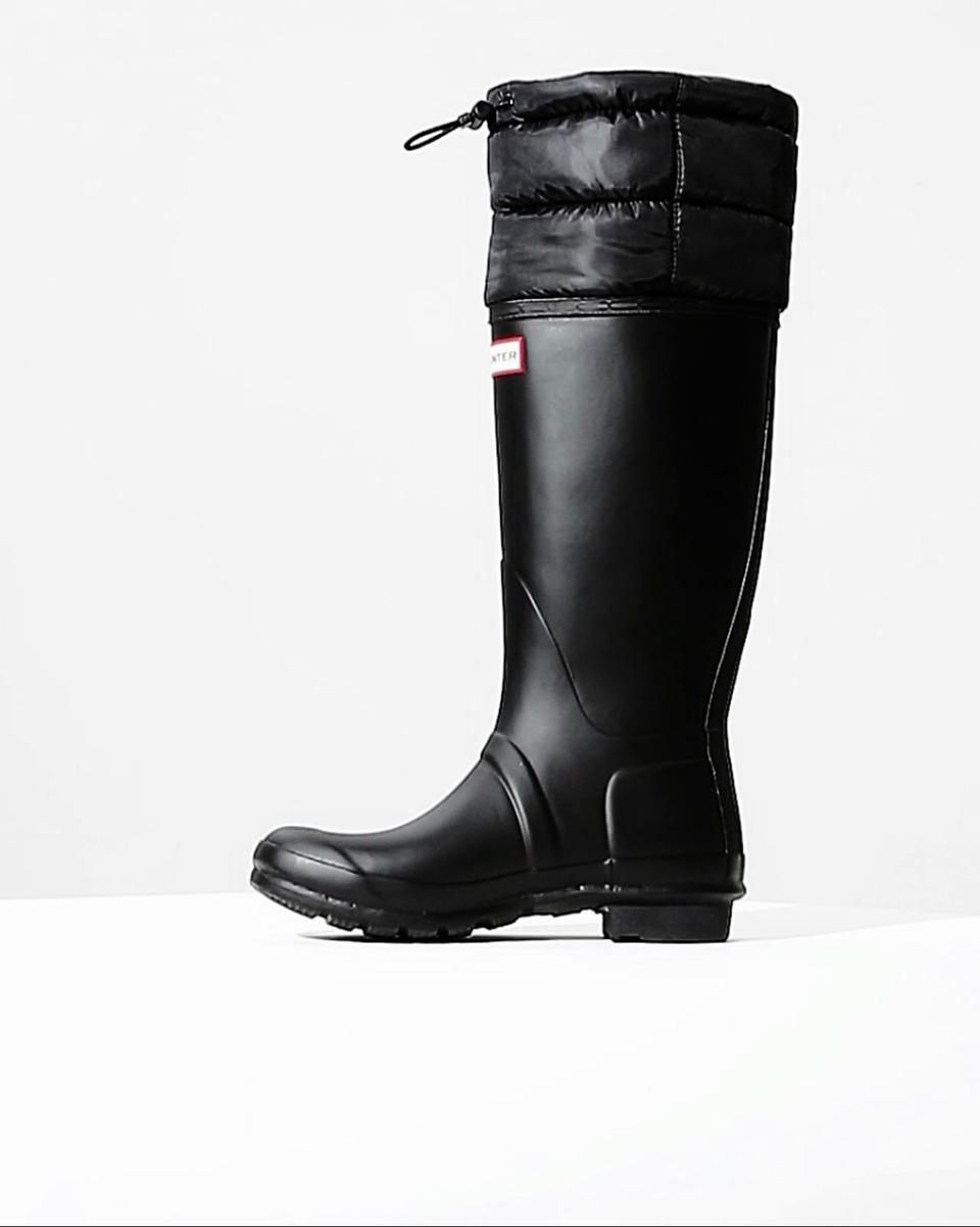 af8578c51ee7 Hunter Womens Original Snow Quilted Wellington Boots Black - Best ...