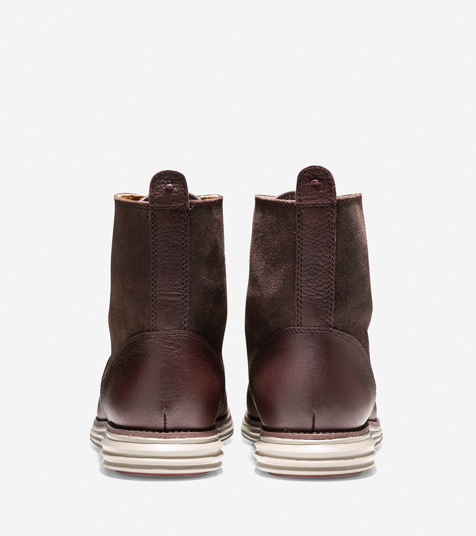 cole haan lunargrand leather and suede boots in brown for