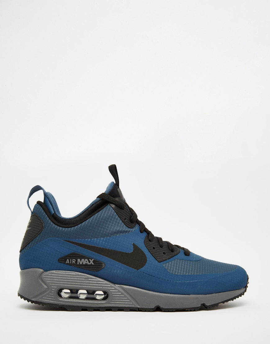 nike air max 90 winter mid trainer 806808 400 in blue for. Black Bedroom Furniture Sets. Home Design Ideas