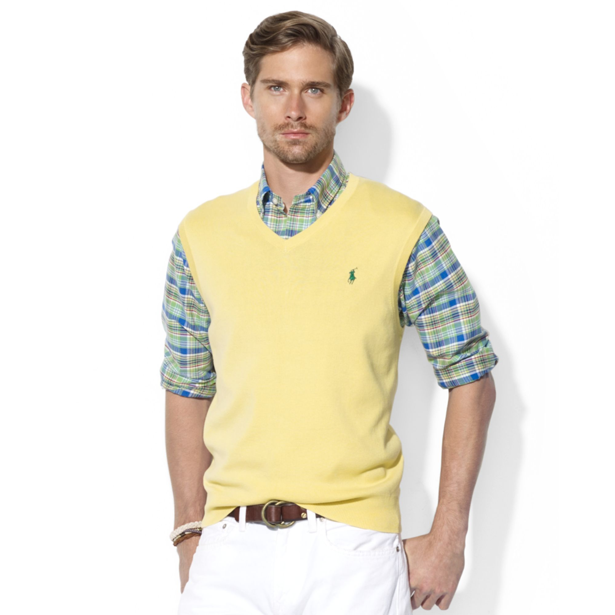 Ralph lauren Polo V Neck Pima Cotton Sweater Vest in Yellow for ...