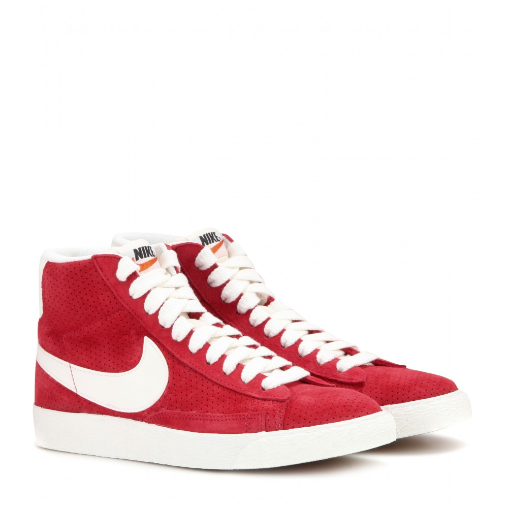 lyst nike blazer mid vintage suede high top sneakers in red. Black Bedroom Furniture Sets. Home Design Ideas