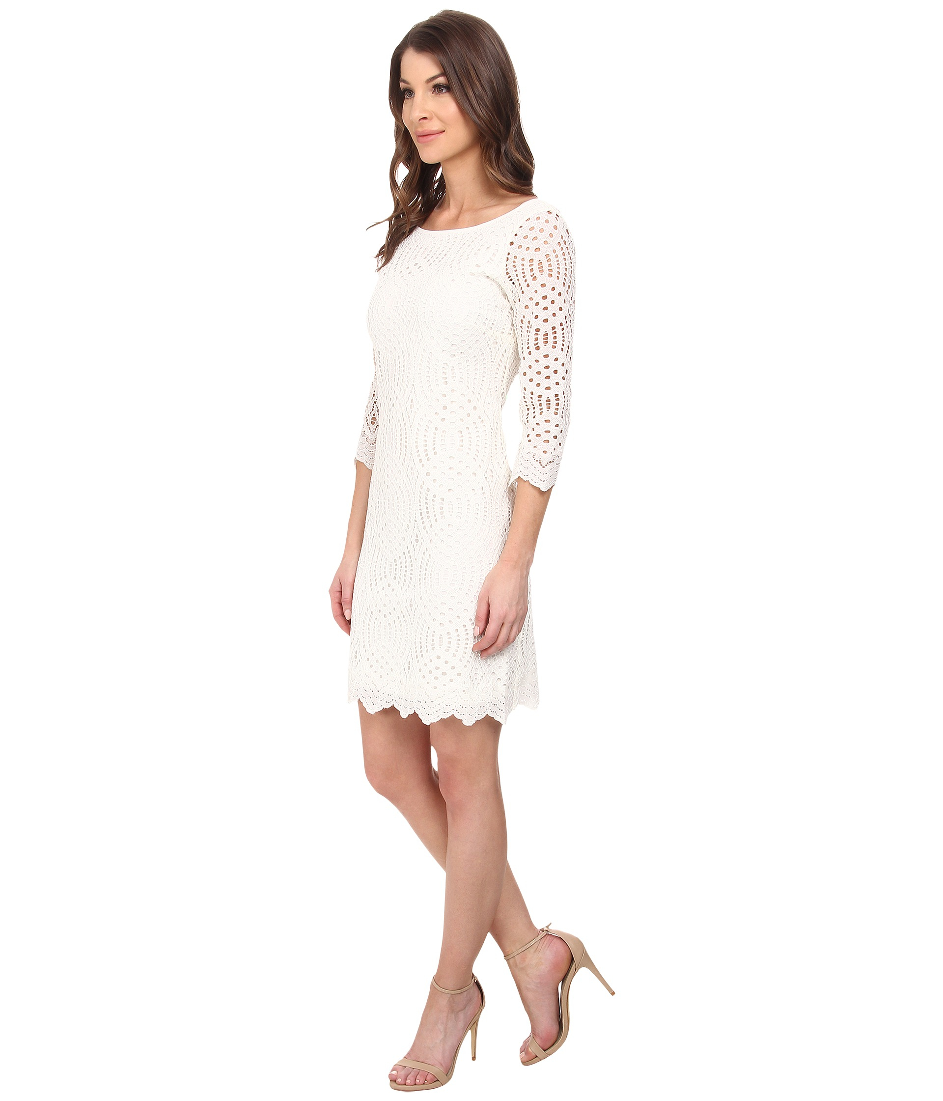 White Lace Dress With 34 Sleeves