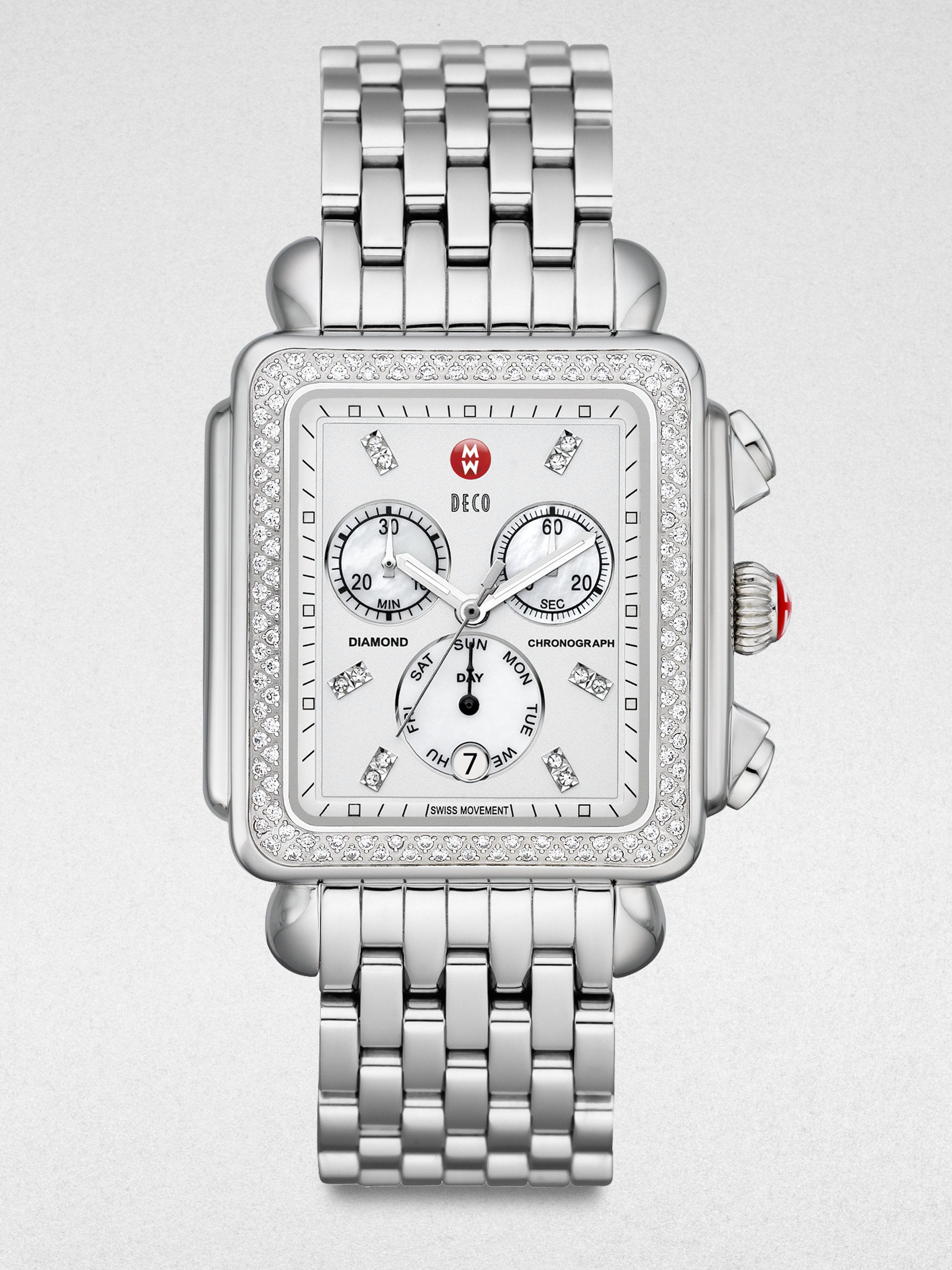 Michele Watches Women S Deco 18 Diamond Mother Of Pearl