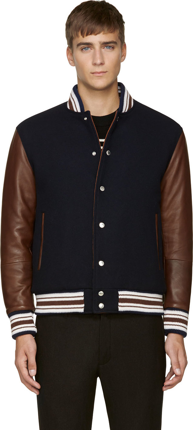 Umit benan Brown and Navy Leather_trimmed Varsity Jacket in Brown ...