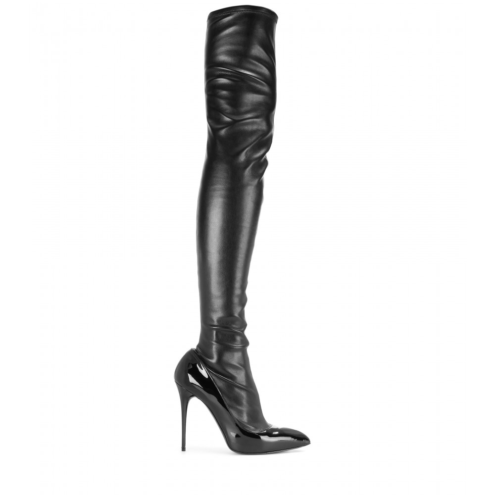 Alexander mcqueen Leather And Patent Leather Over-the-knee Boots ...