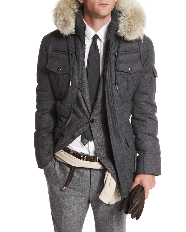 Lyst Brunello Cucinelli Cashmere Blend Parka Coat With
