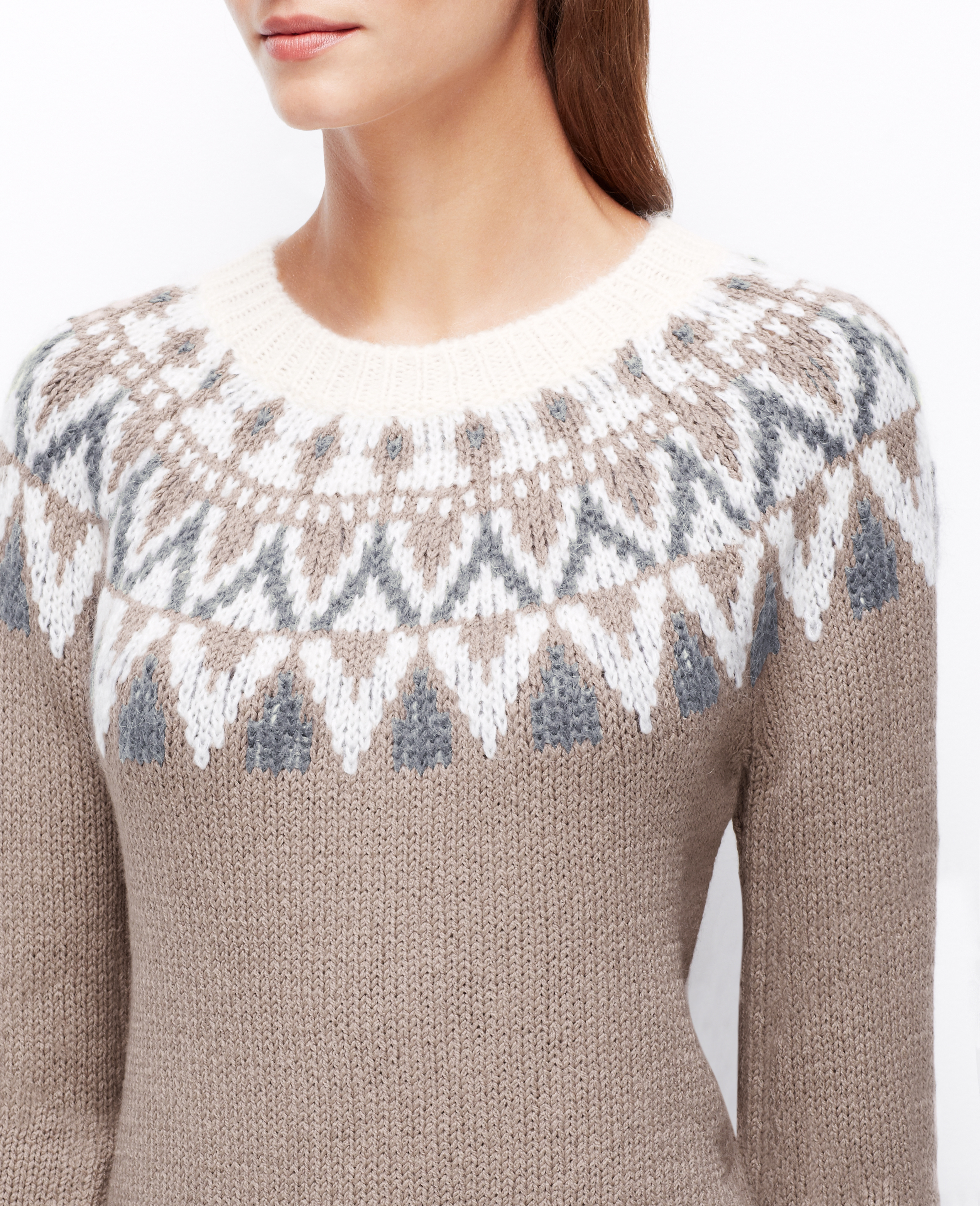 Ann taylor Fair Isle Tunic Sweater in Gray | Lyst