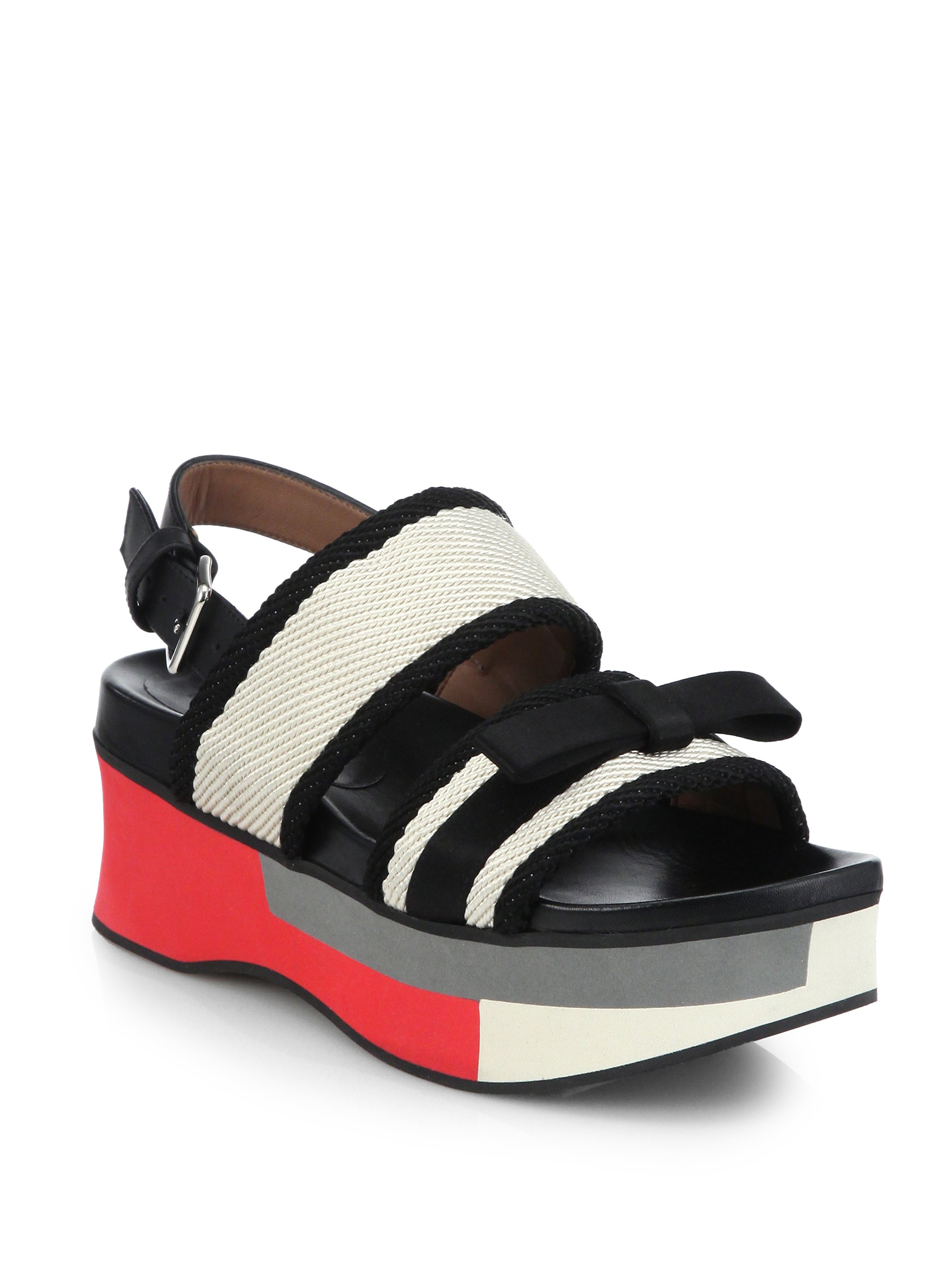 Marni Leather Amp Woven Bow Double Strap Platform Sandals In